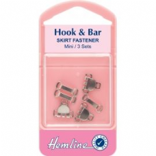 Hook and Bar: Nickel -Skirt Fastener- Extra Small